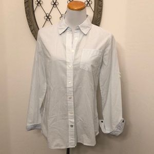 Banana Republic white and blue stripe button shirt